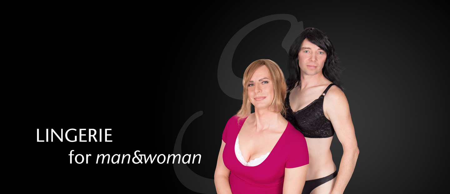 Lingerie for Mann and Woman. 2 Crossdresser Modells vor dem Logo