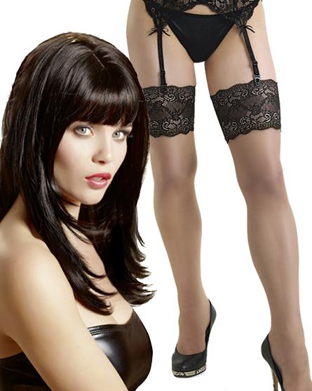 Strapse kombiniert mit String uni schwarz und dazu Perücke lang glatt schwarz